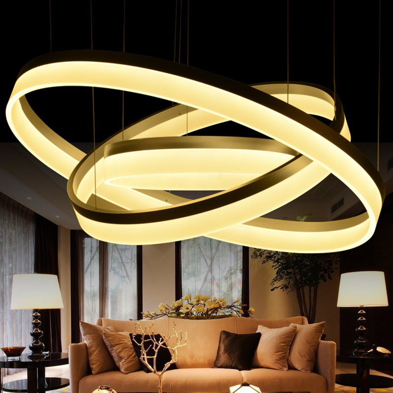modern pendant light 3 rings Circle Suspension hanging lamp  for restaurants dining room lights LED Lustre de sala lighting 40cm acrylic round hanging modern led pendant light lamp for dining living room lighting lustres de sala teto