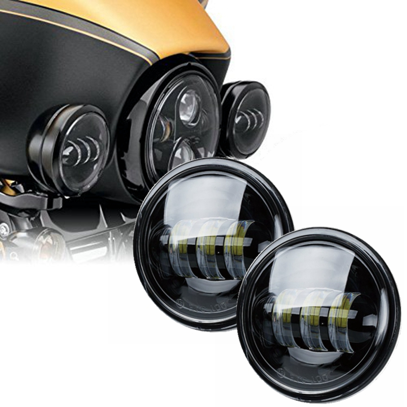 4-1/2 4.5 Inch 30W LED Fog Lights Projector Auxiliary Daymaker Headlight Motorcycle Passing Fog Light Lamp For Harley Davidson led motorcycle fog lights chrome for harley 12v 4 5 inch fog lamp 4 1 2 30w passing drl waterproof motorbike black for harley