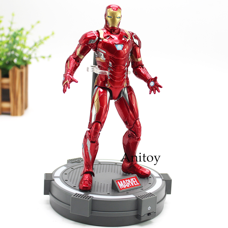 Civi War Captain America Iron Men With LED Light Base Marvel Dolls PVC Action Figure Collectible Model Toy 18cm free shipping marvel captain america civil hawkeye pvc action figure collectible toy