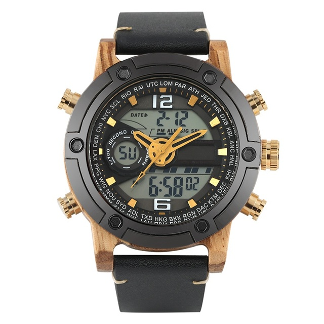 Exquisite Quartz Wooden Watch Men Casual Sport Wood Watches Male Multifunctional Digital Analog Double Display Reloj Hombre