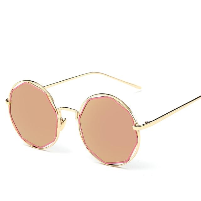 Octogone lunettes de Soleil Femmes Métal Cadre Réfléchissant Revêtement  Hippie Miroir Vintage lunettes de Soleil Ronde cb9fd684a5a2