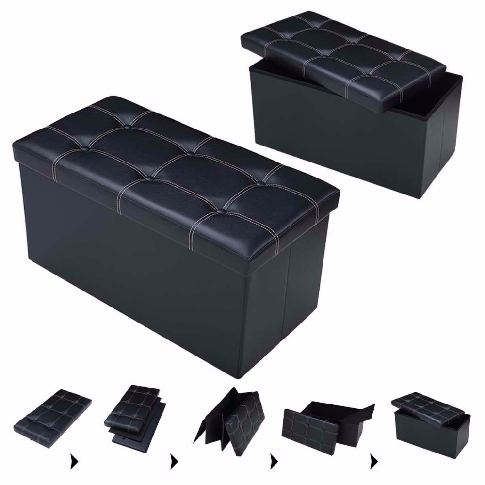 PROMOTION 76 x38 x38cm Large Storage Faux Leather Ottoman Pouffe Box Stool Black Foldable organizer Sofa Home Furniture HW51345 ...