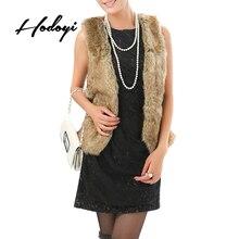 Hodoyi Women Faux Fur Lace Up Sleeveless Tops Waistcoat Elegant Tunic Crew Neck Female Vest Outwear Ladies Cardigans Waistcoat