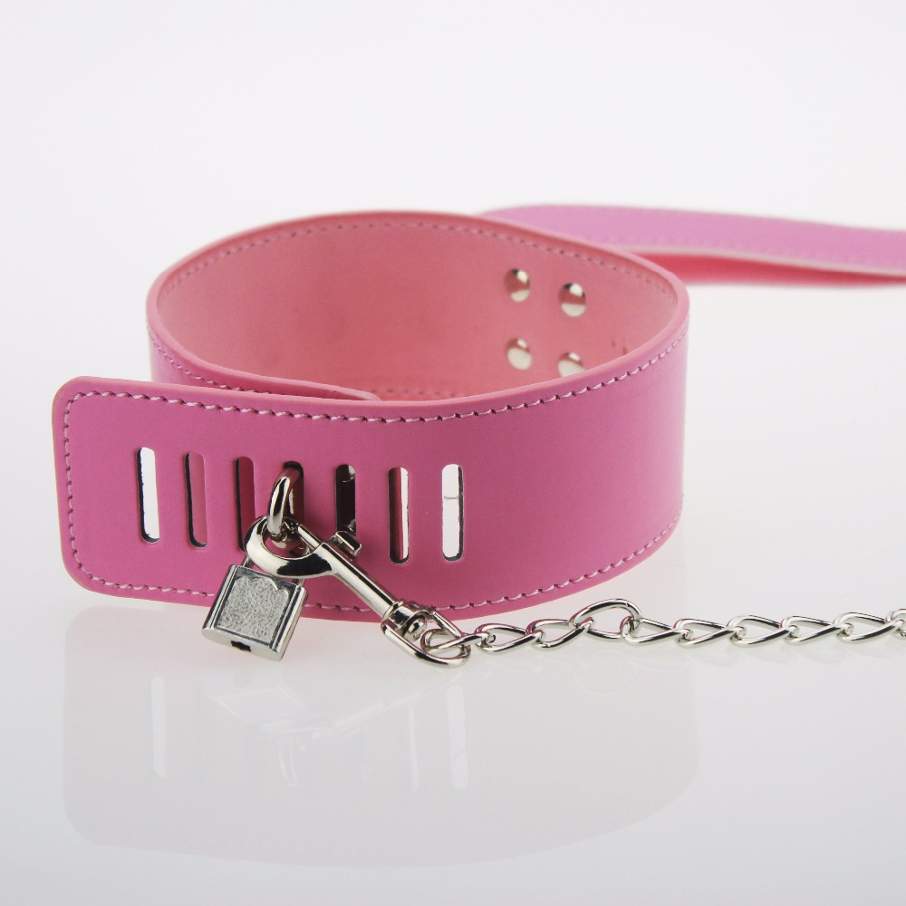 BDSM Sexy Pink PU Leather Sex Collar Lock Tie Neck Leash Bondage Toys For Sex Games Cosplay Erotic Posture Juguetes Eroticos