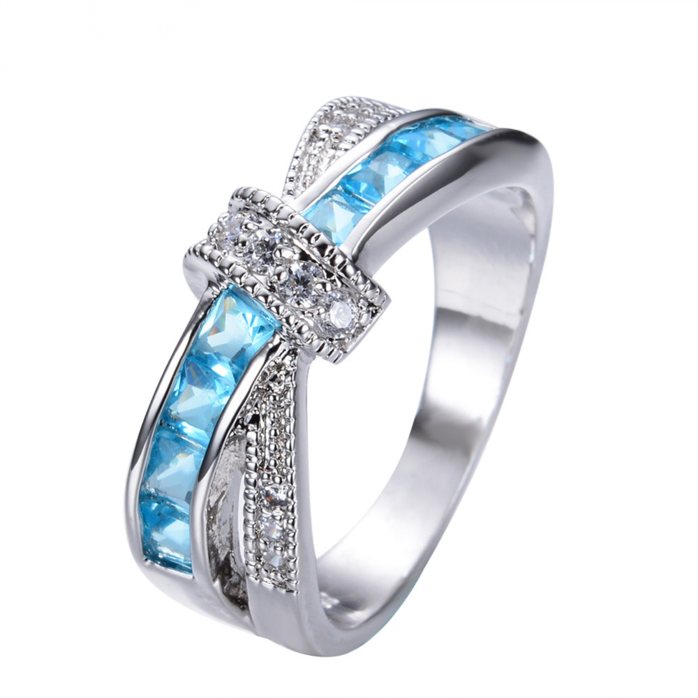 6 color Beautiful pretty fashion Wedding ring Party White gold color silver plated women stone crystal Lady Ring jewelry