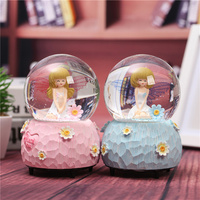 New Christmas Resin Ornament Flower Fairy Lover Crystal Ball Colorful Light Snowflake Rotate Music Box Wedding
