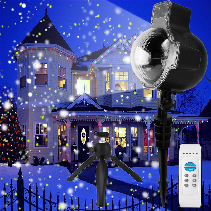 ZjRight Christmas snowflake Projector white LED stage light outdoor Xmas Halloween birthday holiday home party effect lighting white snowflake led stage lights waterproof projector lamps outdoor indoor decor spotlights for christmas party holiday lights