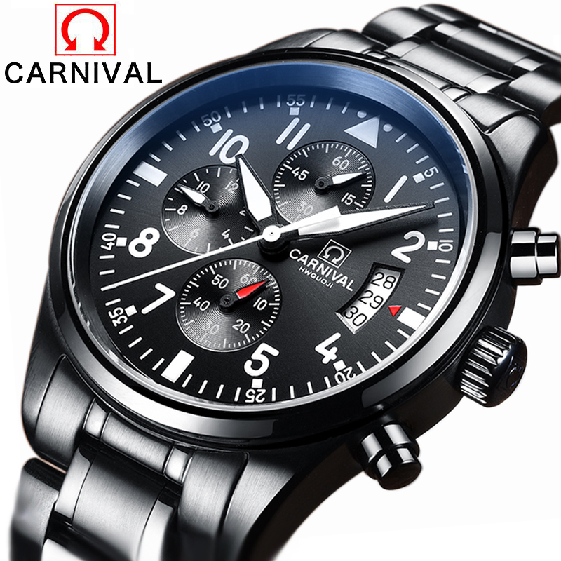 цена на Luxury Brand Carnival pilot series Stainless Steel Strap Analog Display Date Men's Quartz Watch Casual Watch Men Watches relogio