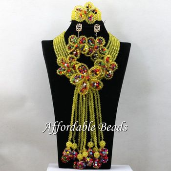 Best Selling Nigerian Wedding Bridal Jewelry Set Latest Chunky Costume Jewelry Necklace Sets Unique Design Gift Wholesale HEB028