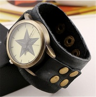 NEW Vintage Retro Wide Genuine Leather Strap Watch Men Fashion Braided Wristwatches Bracelet Bangle Dress Watches