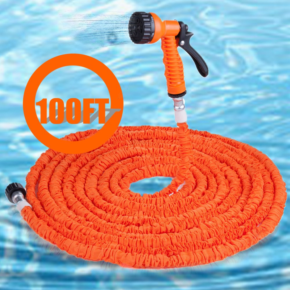 100FT Expandalble Garden Hose Water Pipe with 7 Modes Spray Gun 25ft car wash pipe 7 in 1 spray gun modes garden hose durable latex 3 times expandable for cars washing garden watering home