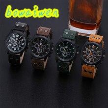 Bowaiwen #8019 человек часы Старинные Классические Мужские Водонепроницаемый Дата Кожаный Ремешок Спорт Кварцевые Часы Армии