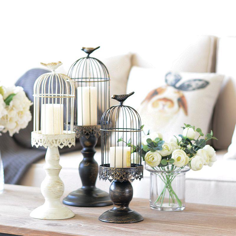 2017 новое поступление белые металлические свечи свадебные украшения фонари клетка для птиц декорации подсвечник Настольный подсвечник цве