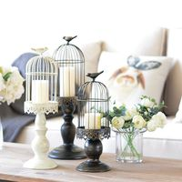 2017 new arrival white metal candle wedding lantern decorations bird cage decoratives home candle table candlestick flower pots