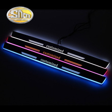 4PCS Acrylic Moving LED Welcome Pedal Car Scuff Plate Pedal Door Sill Pathway Light For Mercedes Benz W204 W205 C180 C200 Sedan