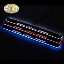 4PCSอะคริลิคMoving LEDยินดีต้อนรับเหยียบรถScuffแผ่นPedalประตูPathwayสำหรับMercedes Benz W204 W205 c180 C200ซีดาน