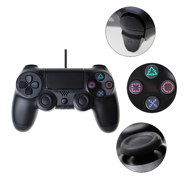 Double Shock USB Wired Controller For PS4 Joystick Fit For PC 2.2M Cable For PS4/PS3 Console For Playstation Dualshock 4 Gamepad