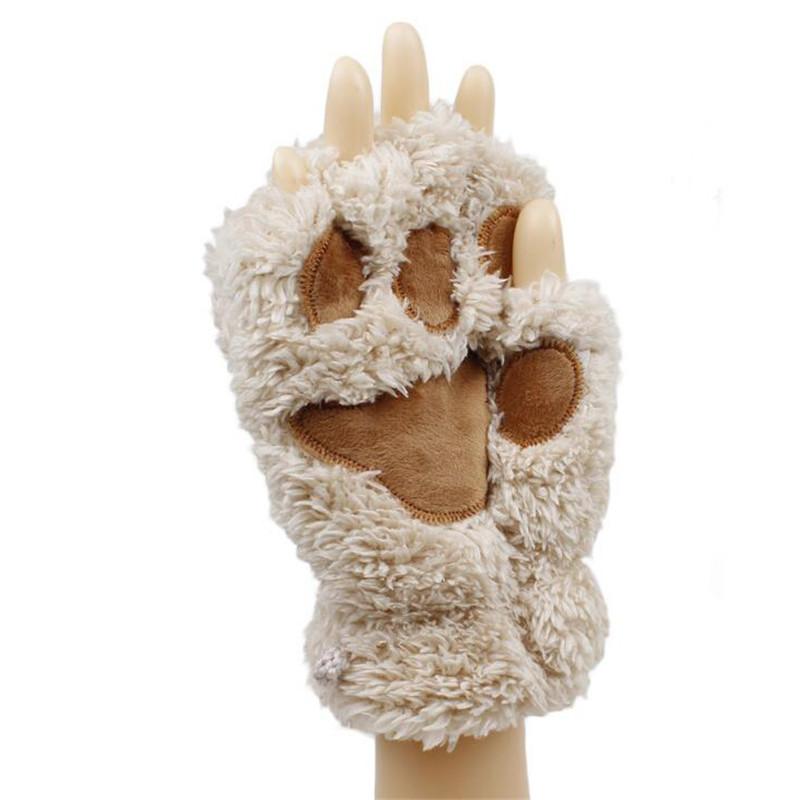 Gloves & Mittens: Free Shipping Fluffy Bear/Cat Plush Paw/Claw Glove Novelty Halloween Soft Toweling Half Covered Women's Gloves Mittens 18013
