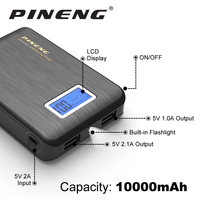 PINENG Mini 10000mAh Dual USB Power Bank Pack LCD External Battery With Li Ion Polymer Portable