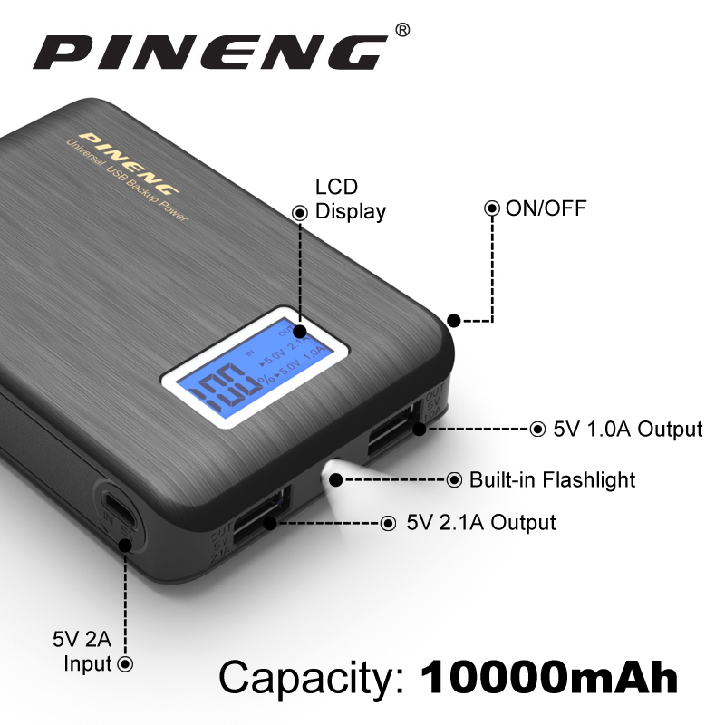 PINENG Mini 10000mAh Dual USB Power Bank Pack LCD External Battery With Li ion Polymer Portable