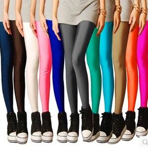 Image 1 - CoolCheer брендовые пикантные однотонные яркие неоновые женские леггинсы растягивающиеся Джеггинсы одежда для фитнеса
