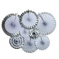 Set Of 8pcs Paper Fan Backdrop Pom Wheel Gold Silver Foil Baby Shower Party Decorations Paper
