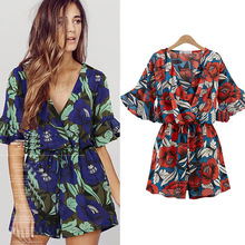 summer plus size rompers womens jumpsuits V-neck Fashion sho