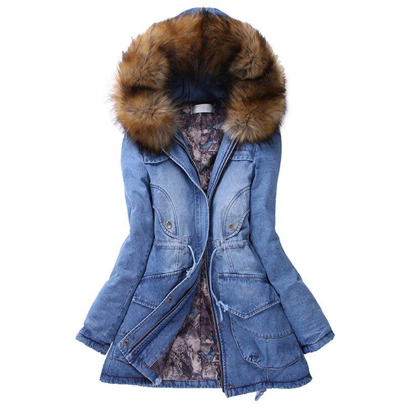 Col de fourrure Parka Veste À Capuche Slim Long Down Veste Hiver Femme Manteau Veste Jeans Plus La Taille Abrigos Mujer Invierno 50NE21