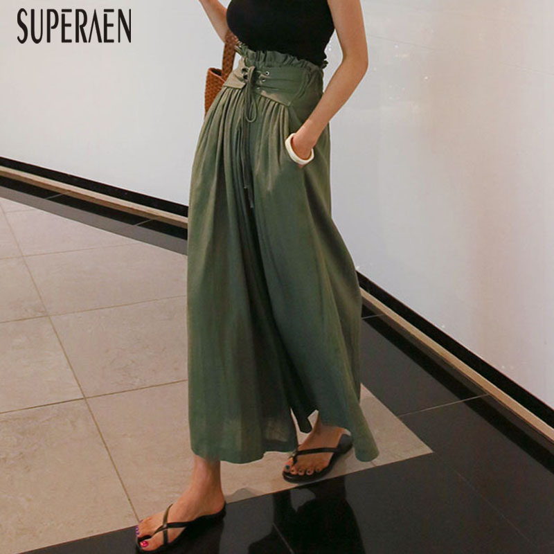 SuperAen Casual Straps Women   Pants   High Waist Linen   Wide     Leg     Pants   Women Wild Solid Color Loose Fashion Ladies   Pants   New 2018