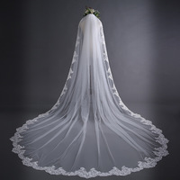 H&S BRIDAL Ivory 3m Long veils Cathedral Length Lace Edge one layer Bridal Veils With Comb Wedding Accessories velos de novia