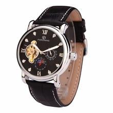 Forsining мода мужчины механические часы горячая мужской кожаный ремешок часы мужская авто дата tourbillonwristwatches relogio masculino