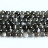 Echte Echte Natuurlijke Zwarte Maansteen flitslicht Ronde Losse Edelsteen Bal Kralen 6-12mm 15