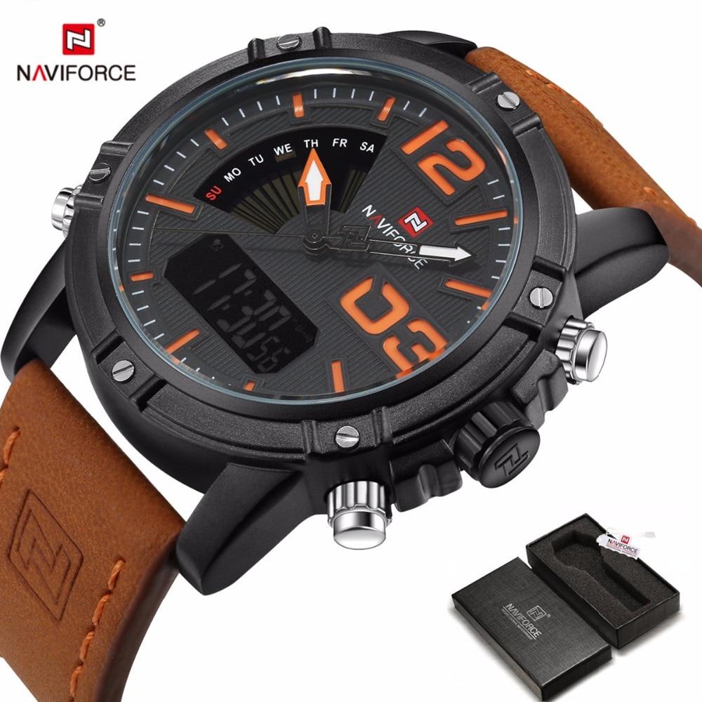 Naviforce relojes hombre  2017 Top Brand luxury Watch Men Analog Leather Belt quartz watch Waterproof Military relogio masculino