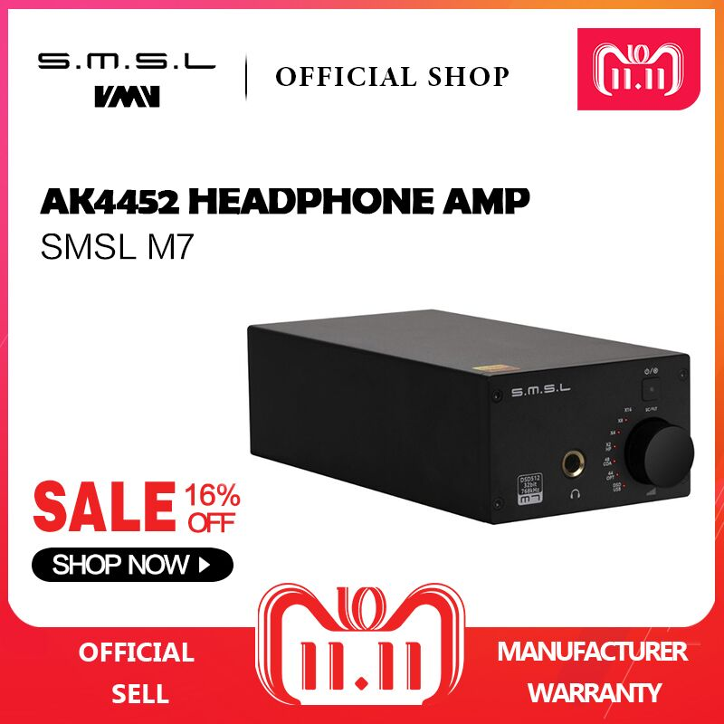 SMSL M7 2xAK4452 32Bit/768KHz DSD512 Hi-Fi Audio USB DAC with Headphone Amplifier USB Coaxial Optical Input RCA 6.35 Jack Output smsl iq hi res portable headphone amplifier usb dac dsd512 pcm 768khz chargeable with built in battery 2 5mm and 3 5mm output