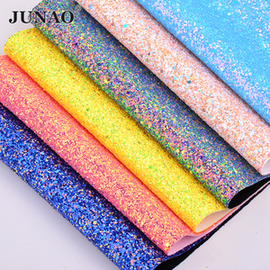 JUNAO 20*34cm Chunky Glitter Faux Artificial Leather Sequin Fabric PU Leather Synthetic Fabric Sheets Leatherette for DIY Crafts(China)