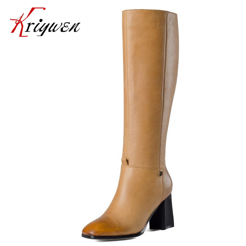 Big size 33-43 winter elegant lady genuine leather shoes solid thick high heels motorcycle knee high boots for woman retro shoes 2017 big size 34 43 genuine leather ethnic knee boots add fur retro thick heels embroidery high quality fall winter shoes woman