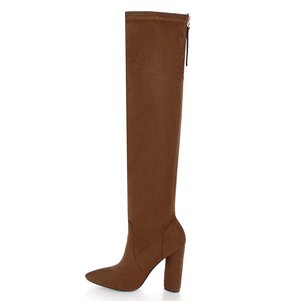 cf17d641636d63 Talons Mode 33 Chaussures 46 marron Chunky Up Zip Nouvelle Bottes Noir  D'hiver Hauts Femme Grande ...
