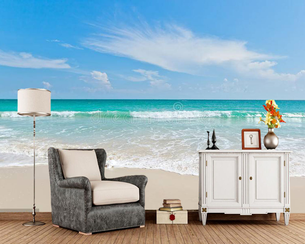 Papel De Parede Sea Beach Blue Sky Sand Sun Natural 3d Wallpaper Mural,living Room TV Sofa Wall Bedroom Wall Papers Home Decor