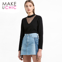 MAKEUCHIC Apparel 2017 Summer Women Sweater Solid Black Sexy Sheer Mesh Patchwork Female Tops Streetwear Brief Pullover Tops