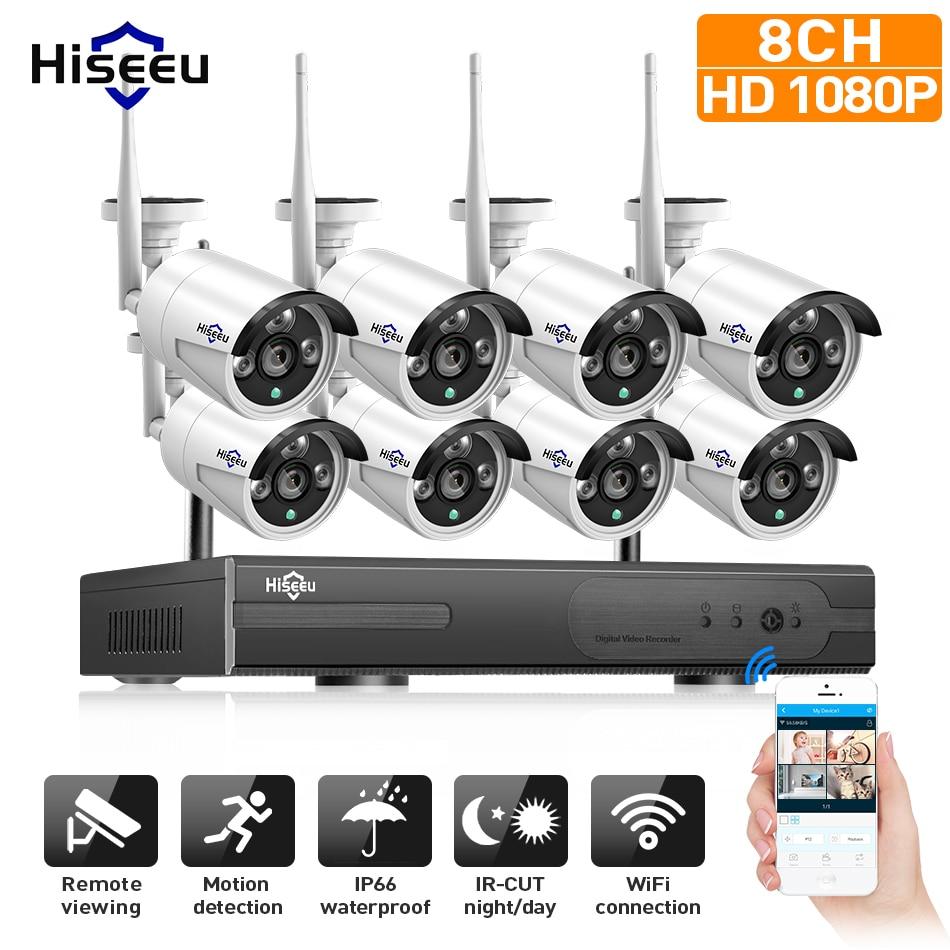 1080 p Sans Fil CCTV Système 2 m 8ch HD wi-fi NVR kit Extérieure IR Vision Nocturne IP Wifi Caméra de Sécurité système de Surveillance Hiseeu