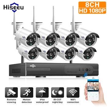 1080P sistema CCTV inalámbrico 2M 8ch HD wi-fi NVR kit exterior IR visión nocturna IP Wifi cámara de seguridad sistema de Vigilancia Hiseeu