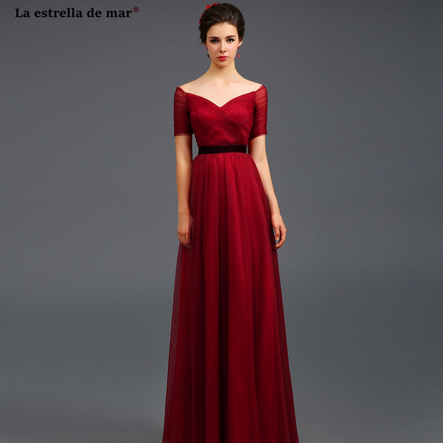 Robe pour mariage invit new tulle sexy V neck Off Shoulder black belt burgundy   bridesmaid     dress   long sukienki na wesele cheap