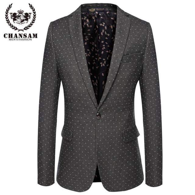 2016 Nova Sping Marca de Moda Cinza Blazer Men Suit Casual Jacket Pontos brancos Dos Homens Slim Fit Ternos Um Botão Terno Homens Homens 3XL