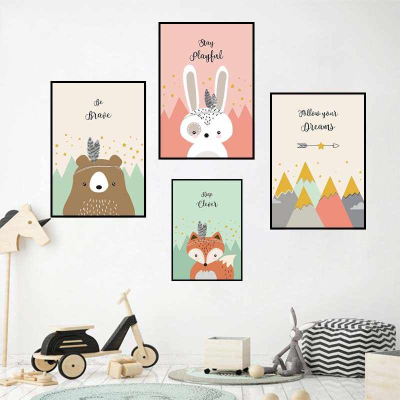 Woodland Tribalism Art Animal Nordic Posters & Prints Wall Art Canvas Painting Bear Fox Rabbit Wall Picture for Kids Room Decor