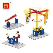 Model Building Kits Power Machinery Blocks Mechanical engineering Brick Carousel/Windmill/Shooting/Lift for Children Educational
