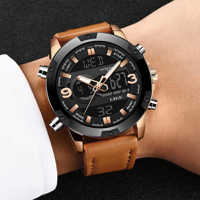2019LIGE New Men Fashion Sport Watch Men Leather Waterproof Quartz Watches Male Military Date LED Analog Clock Relogio Masculino