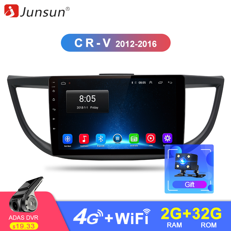 Junsun 2G+32G Android 8.1 4G Car Radio Multimedia Audio Player Navigation GPS 2Din For Honda CRV 2012 2013 2014 2015 2016 no DVD
