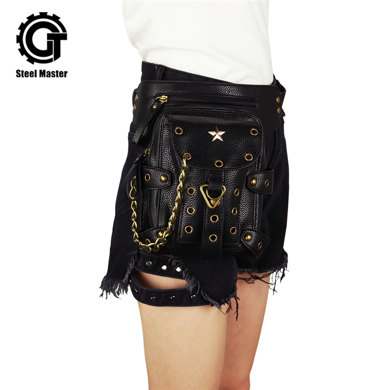 Steampunk Small Waist Bag Retro Black PU Leather Motorcycle Leg Bag Women Men Gothic Victorian Rivet Shoulder Metal Chain Bags fashion new steampunk rivet shoulder bag crossbody motorcycle messenger bags gothic black pu leather women clutch handbag