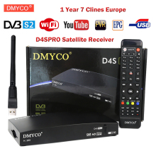 D4SPro Satellite Receiver DVB-S2 Full 1080P TV Tuner with USB WIFI BissKey Newcamd Youtube Powervu 1 Year Europe 7 Clines Server