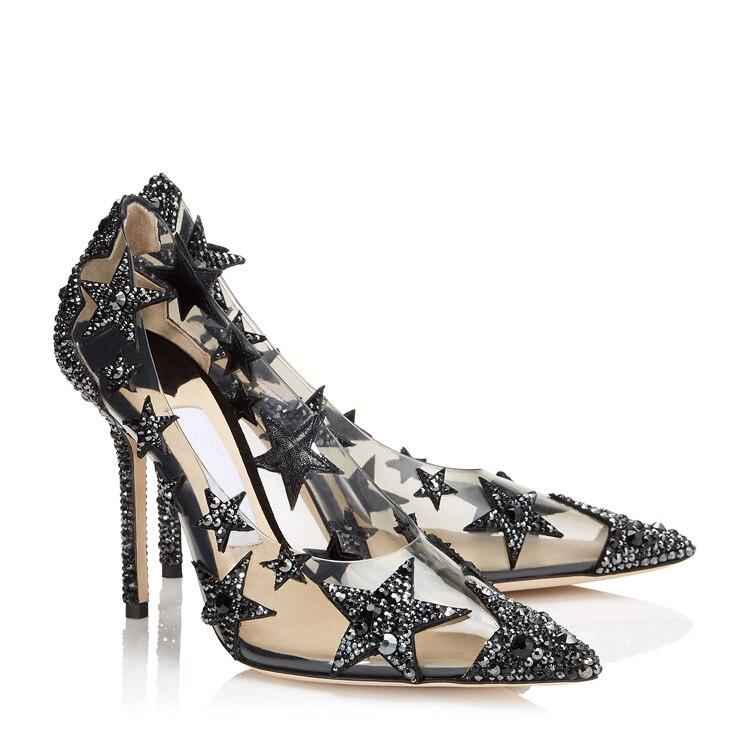 حزب حذاء من الكريستال العروس ضوء الملونة وأشار الماس شفافة واضحة إمرأة أحذية الأسود حجر الراين نجوم الديكور-في أحذية نسائية من أحذية على  مجموعة 1
